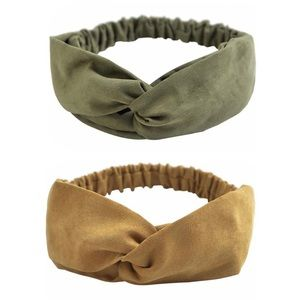 """⭐️4/$25⭐️🆕2 pack bohemian elastic hair wraps / headbands in """"retro suede"""" style"""